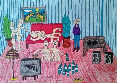 Im alone with naked people maja björk living room